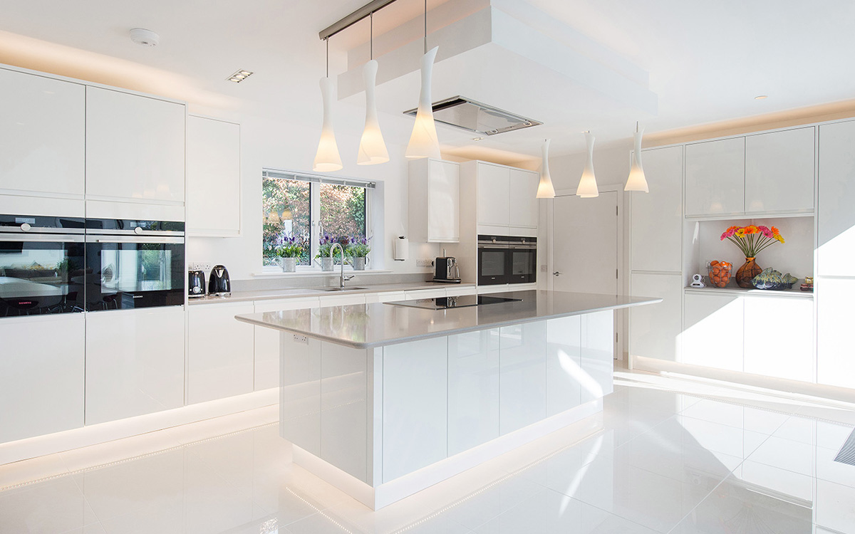 A stunning modern white kitchen
